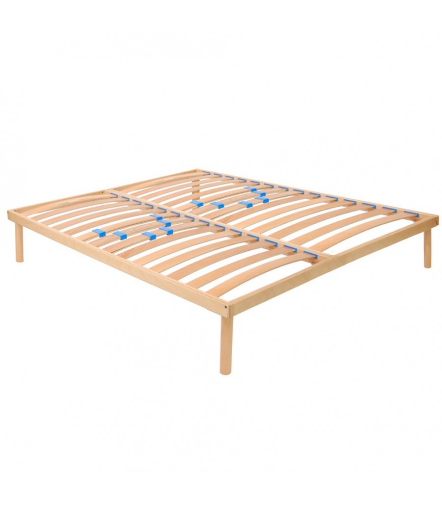 Doghe.Slatted Bed Base With Rigidity Regulators In Beechwood Fixed Model Tgfr Made In Italy
