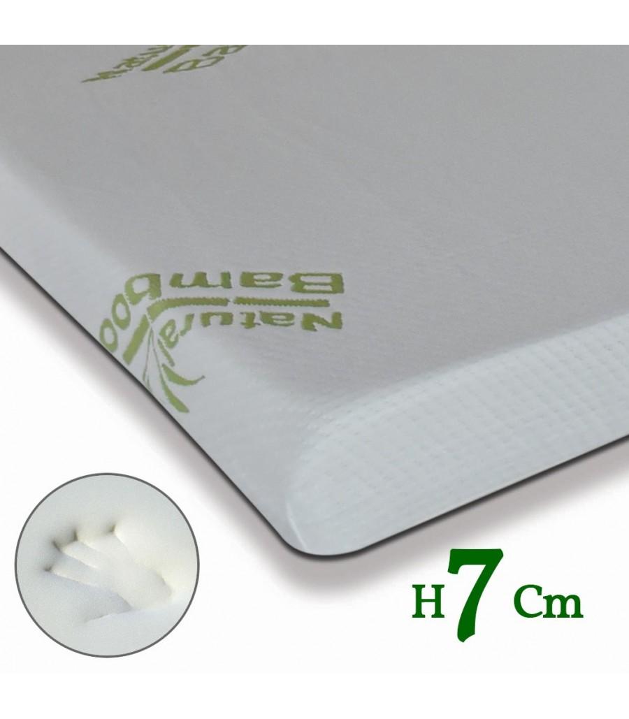 Materassi Body Memory.Topper Memory Bamboo Tessuto Lavabile Ed Ecologico Alto 7 Cm