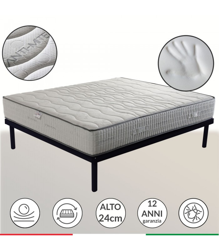 Mattress memory + AirPur® tall 24 cm - SEVEN MADE IN ITALY
